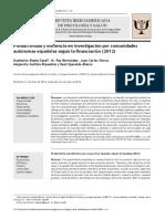 Productividad y Eficiencia en Investigación Por Comunidades Autónomas Españolas Según La Financiación (2012)