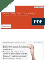Avoid Blood Clots in Legs