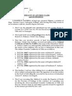 Affidavit of Lis Pendens