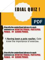 Remedial Quiz for Infinitive Phrase