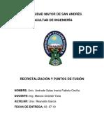 Recristalizacion y Puntos e Fusion