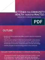 Introduction to Community Health Nursing SETTINGS