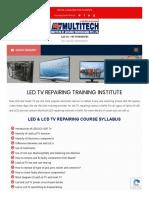 Led-TV Repairing Course Led TV Repairing Institute
