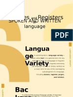 Varieties and Registers of Written and Oral Communication