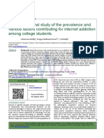A cross sectional study of the prevalence and various factors contributing for internet addiction among college students