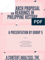 A Research Proposal in Readings In Philippine History