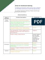 Guideline for sentiment marking