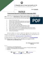 Notice for PEF Scholarship 29-10-2019