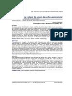 Reflexoes Sobre O Objeto De Estudo Da Politica Educacional