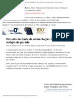 Circuito de Fonte de Alimentação de 1,5V Para Relógio de Parede _ Projetos de Circuito Caseiro