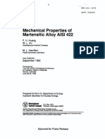 Mechanical properties of Martensific Alloy AISI 422