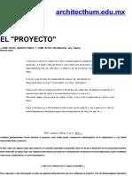 El Proyecto Como Hecho Arq e Historico