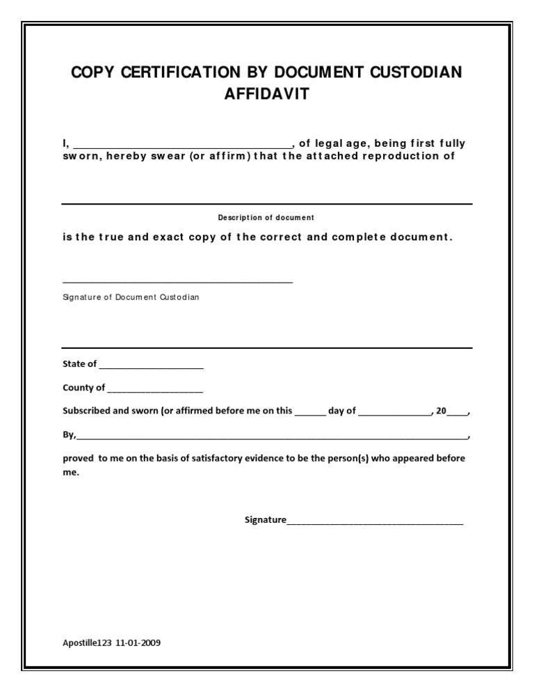 document affidavit custodian copy certification