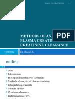 Methods of Analysis of Plasma Creatinine and Creatinine