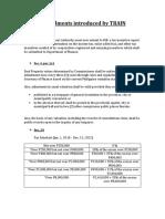 Amendments Introduced by TRAIN