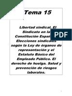 TEMA 15.- LIBERTAD SINDICAL.  ORGANOS DE REPRESENTACIÓN. DERECHO DE HUELGA. SALUD Y PREVENCION DE RIESGOS LABORALES