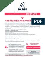 LA VILLE DE PARIS RECRUTE 7 technicien·nes multimédia