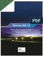 ND25 Projetos de Redes Aéreas Isoladas e Protegidas de Distribuição de Energia Elétrica