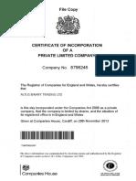 Altus Binary Registro INGLATERRA