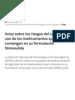 Aviso sobre los riesgos del uso de medicamentos que contengan en su formulacion Nimesulida