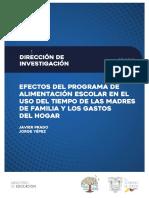 Efectos Programa Alimentacion Escolar en Gastos y Uso Tiempo Hogar MINEDUC - PRADO Y YEPEZ 2018