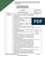 New India Mediclaim Policy Customer Information Sheet