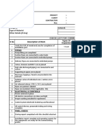 Check List for Commissioning