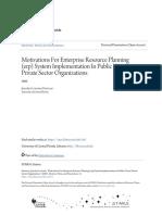 Motivations for Enterprise Resource Planning (Erp) System Impleme
