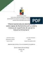 Efecto Bactericida de Desinfectantes Sobre Cepas de Escherichia Coli y Listeria Innocua