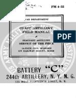 FM 4-35 Seacoast Artillery Service of the Piece 14-Inch Gun, m1920 Mii on Railway Mount, m1920 (1940)