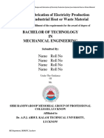 Design and Fabrication of Electricity Production System From Industrial Heat or Waste Material Report