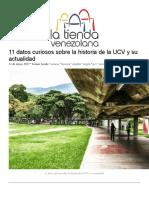 11 Datos Curiosos Sobre La Historia de La UCV y Su Actualidad