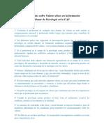 10 Ideas Principales Sobre Valores Éticos en La Formación Del Estudiante de Psicología en La UAS