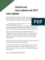 Lima Registrará Una Temperatura Máxima de 24 ,  dia  9 de noviembre 2019