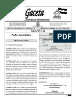 Gaceta Sobre Ley de Alivio de Deuda.