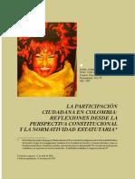 La Participación Ciudadana en Colombia Reflexiones Desde La Perspectiva Constitucional