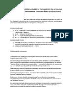 Proposta Pedagógica Do Curso de Treinamento Em Operação Segura Com Plataformas de Trabalho Áereo