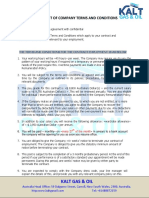 Kalt Gas Oil Principal Statement Terms and Conditions