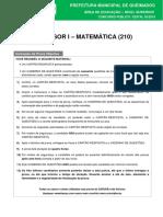Prova Professor Matematica