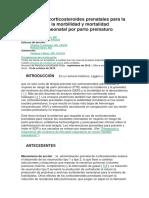 Terapia Con Corticosteroides Prenatales Para La Reducción de La Morbilidad y Mortalidad Respiratoria Neonatal Por Parto Prematuro