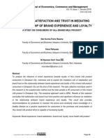 The Role of Satisfaction and Trust in Mediating the Relationship of Brand Experience and Loyalty; A Study on Consumers of Hilo Brand Milk Product