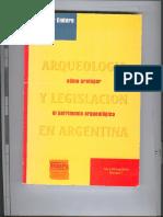 Arqueologia y Legislacion en Argentina.