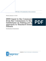 IEEE Input to the Communication From the Commission to the Institutions on Setting Out the EU Approach to Standard Essential Patents