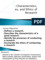 LESSON 3 Characteristics, Processes and Ethics of Research