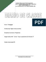 Diário Da Disciplina Currículos e Programas Da Turma Da Terça e Quarta-feira Junho de 2019