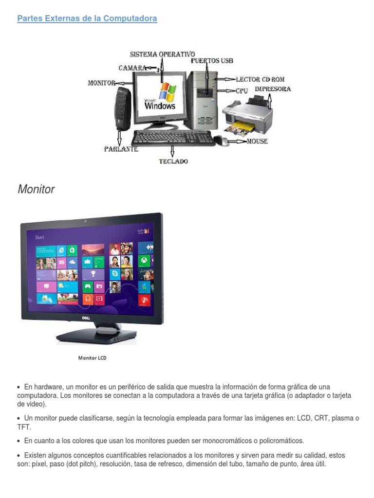 Monitor: Partes Externas de la Computadora | Monitor de computadora |  Impresora (Computación)