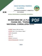 INVENTARIO DE FLORA Y FAUNA DE PARQUE NACIONAL COORDILLERA AZUL