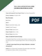 Resultados de La Aplicación de Encuesta Sobre Factores de Riesgo Ergonómicos y Daños
