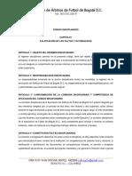 Código Disciplinario Asociacion de Arbitros de Fútbol de Bogotá 2016