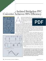 Single stage isolated bridgeless PFC converter achieves 98 percent efficiency